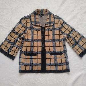 Check plaid tartan knit cardigan jacket blazer